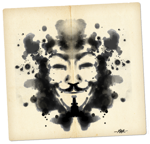 Anonymous Rorschach Ink Blot (Artwork by Mar - sudux.com) - http://cognitivedissidents.wordpress.com
